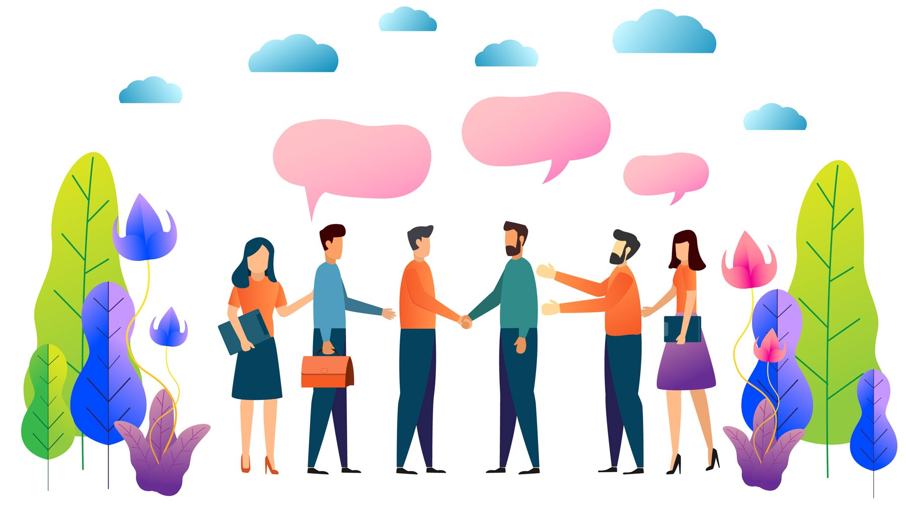 Teamwork and partnership. business people shake hands and discussion vector illustration.