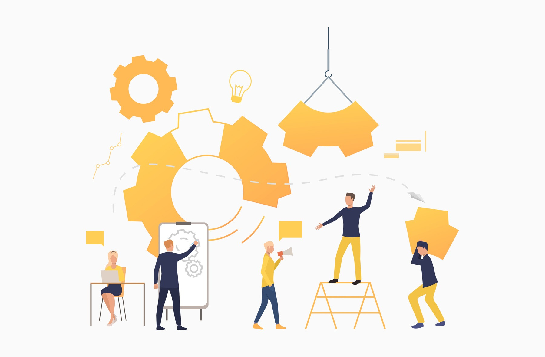 Business team working as mechanism. Operation, teamwork, brainstorming. Management concept. Vector illustration can be used for presentation slide, posters, banners