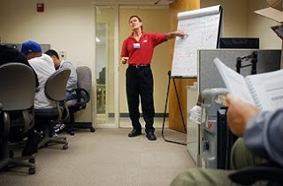 Rodney Guenther, a Cisco certified instructor teaches an Interconnecting Cisco Network Devices class to unemployed workers at the Solano Employment Connection building in Vallejo. The class, which normally costs $3500, was offered for free to qualified workers through a partnerhsip of the Solano County Workfoce Investment Boar, Cisco, Skyline  Advanced Technology Services and Techsponential.